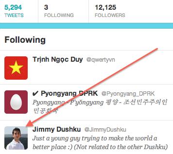 Screen shot from North Korea Twitter