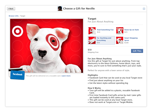 Target gift card Facebook gifts