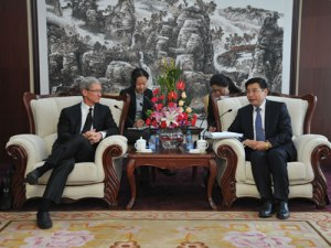 Tim Cook in January. He has made annual visits to China since becoming CEO. Credit: China's Ministry of Industry and Information Technology
