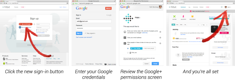Google+ sign-in feature example