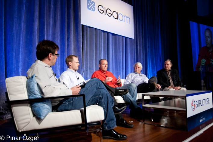 Structure 2011: Geva Perry – Cloud Strategy and Marketing Advisor, Blogger, Thinking Out Cloud; Mike Miller – Founder and Chief Scientist, Cloudant; Razi Sharir – CEO, Xeround; Jim Starkey – CTO, NimbusDB; Barry Zane – CTO, ParAccel