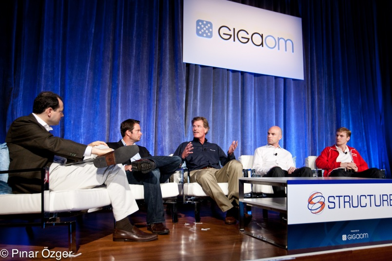 Structure 2011: George Gilbert – Principal, TechAlpha; Derek Collison – CTO, Chief Archictect, Cloud Division, VMware; Michael Crandell – CEO, RightScale; Issac Roth – PaaS Master, Red Hat; Sebastian Stadil – Co-Founder, SCALR