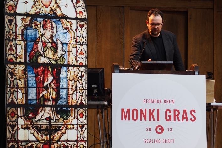 Chris Thorpe presenting at Monki Gras, London