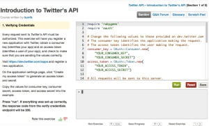 Codecademy screenshot Twitter API