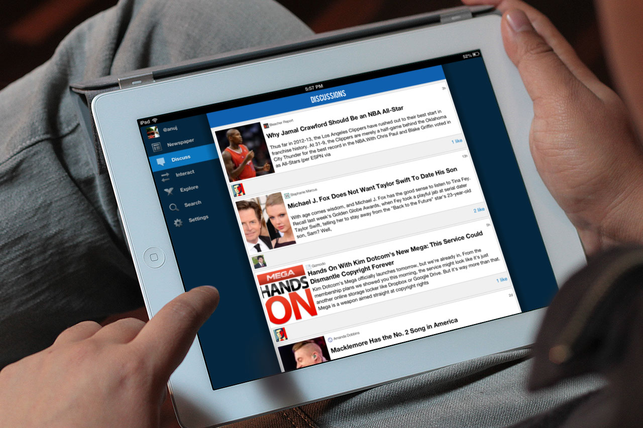Thirst iPad app search news reader