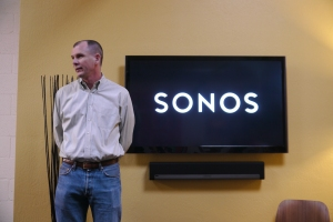 Sonos CEO John Macfarlane during a first press demo of the Playbar earlier this month in the company's development facility in Santa Barbara.