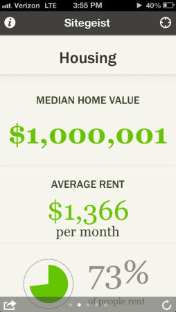 Sitegeist app housing prices screenshot
