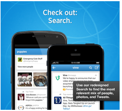 Twitter search updates mobile