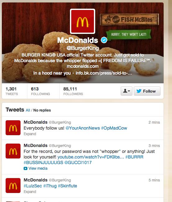Screen shot of burger king hack