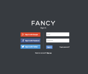 The Fancy Twitter Facebook Google login page