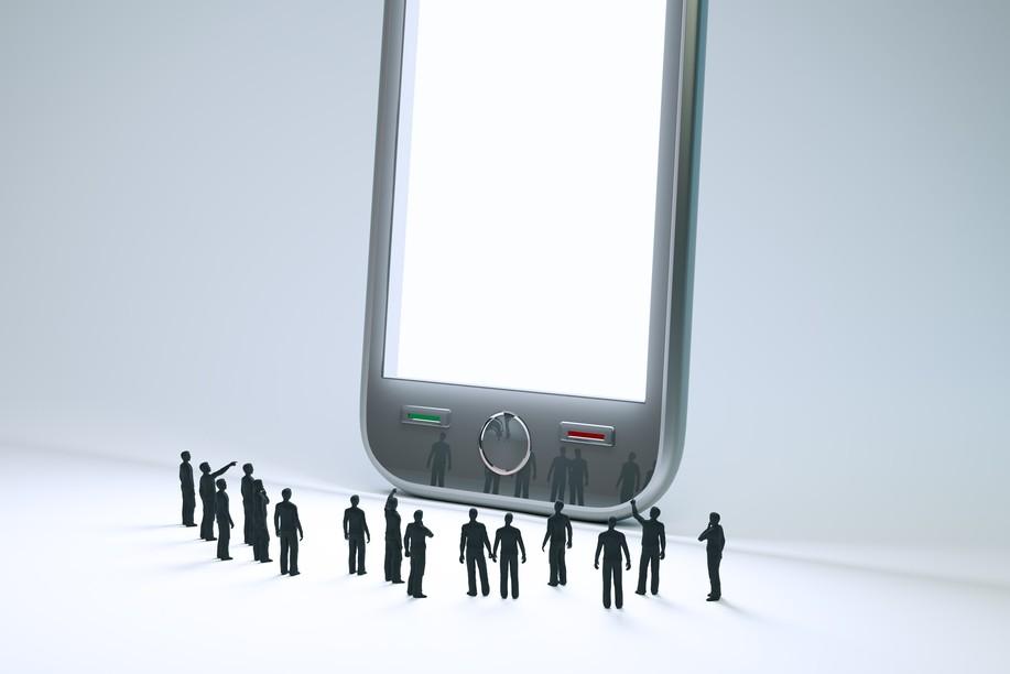 Giant Phone Tiny people