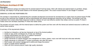 The job offer in question: WD is looking for a Google TV software architect.
