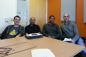 L to R: Kreps, Shirshanka Das, Bhaskar Ghosh, Bob Schulman