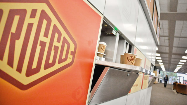 The Briggo coffee-making robot lives inside that cube.