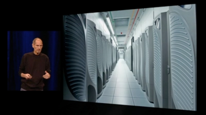 Rows of Teradata appliances inside an Apple data center.