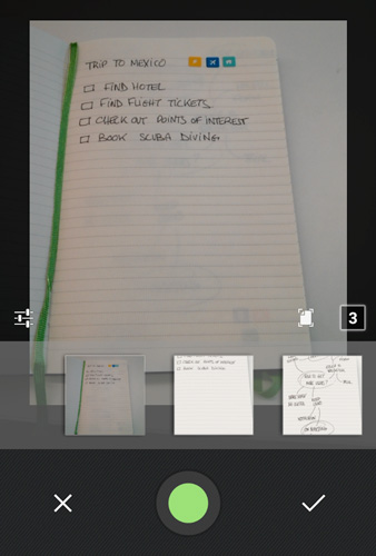 evernote camera mode