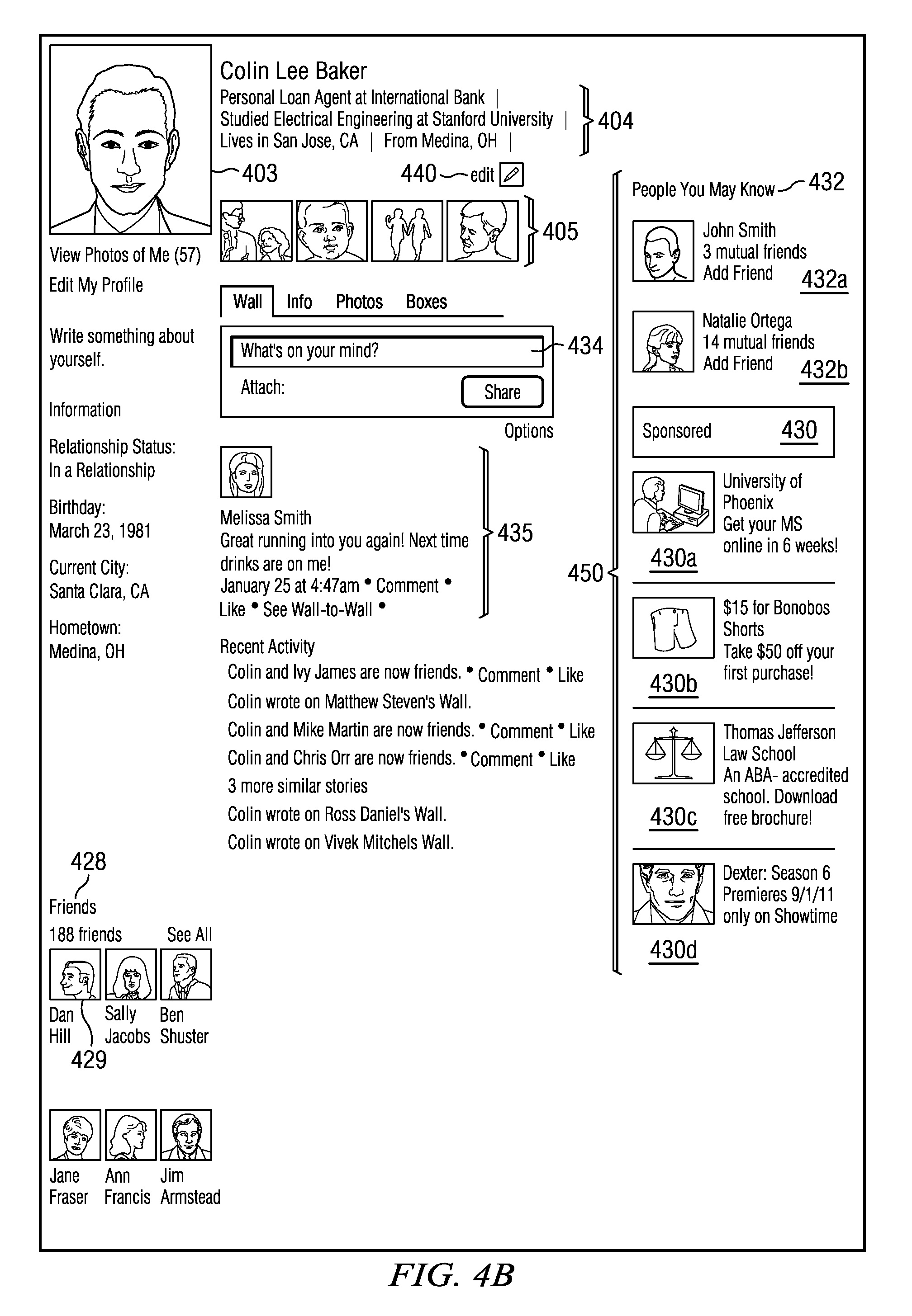 This is how the patent application depicts a profile with ads...