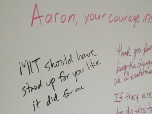 Whiteboard set up at MIT Media Lab for Aaron Swartz memorial.