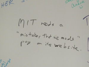 White board at Swartz Memorial.