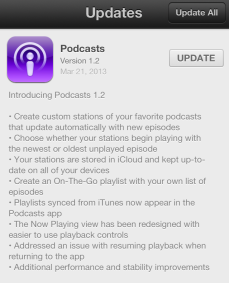 Podcasts 1.2 update