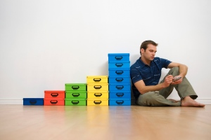 man startup with boxes