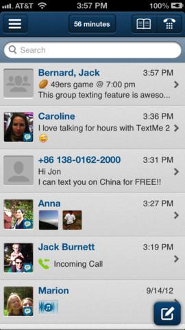 TextMe interface