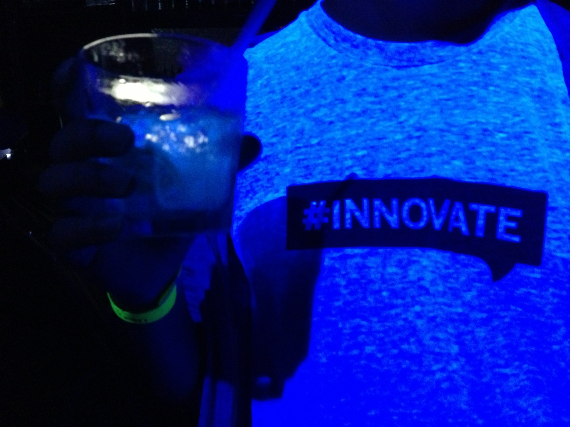 Glow in the dark drinks at MIT Media Lab's party.