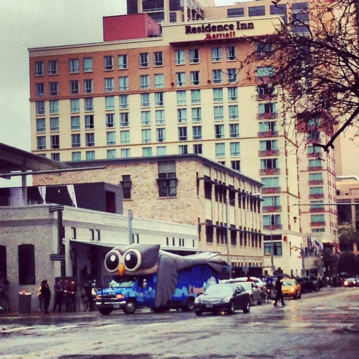 Hootsuite put together an owl bus and had it rolling through town.