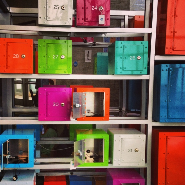 AT&T provided colorful charging lockers for you to hook up your devices.