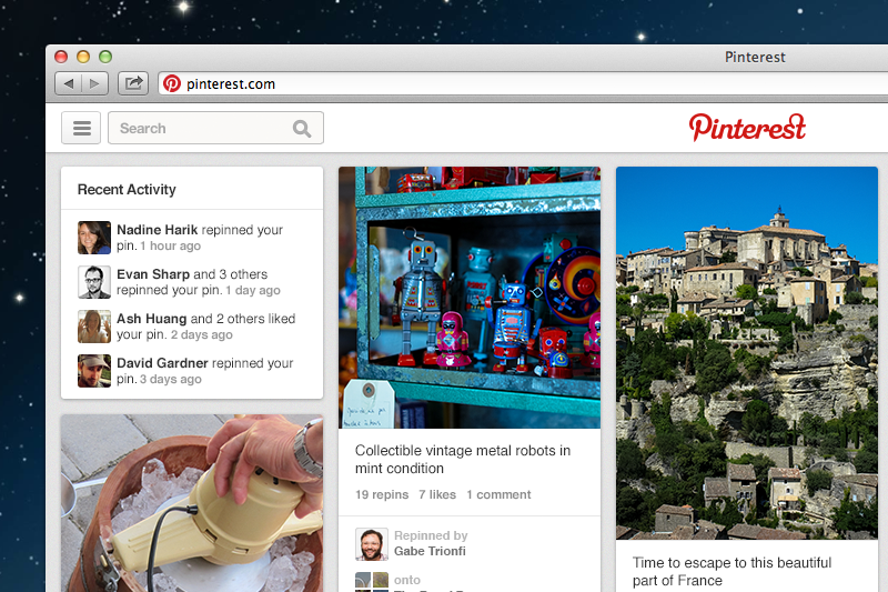 pinterest new look screenshot
