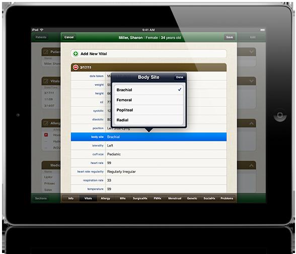 The Greenway Medical iPad app.