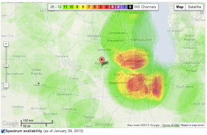 A screenshot of Google's White Spaces database tool showing unused TV frequencies throughout the Midwest (Source: Google)