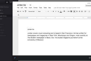 Screen shot of Jolidrive displaying a Google Drive document a user can edit.