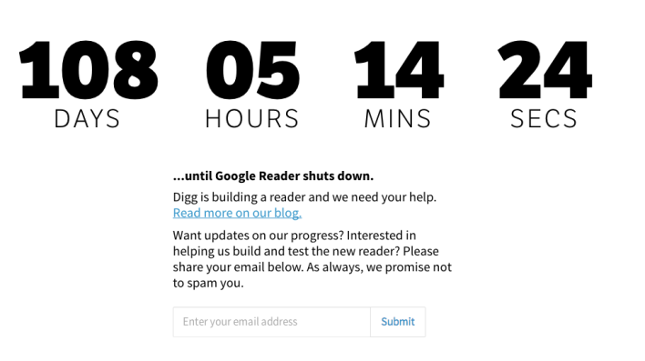 Digg reader Google Reader countdown