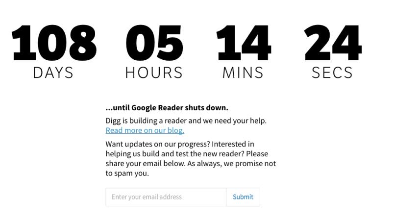 Digg reader Google Reader countdown