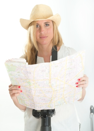 Woman with map, adventure woman