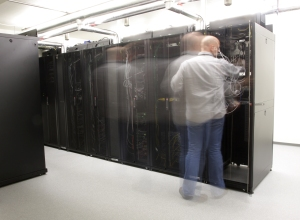 Network administrator in server room