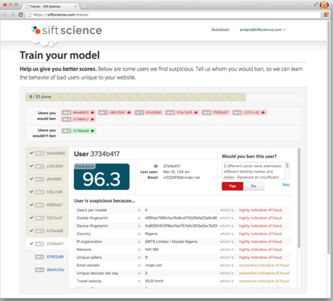 Customers can flag users as fraudsters in order to train Sift Science's algorithm to spot patterns unique to their site.