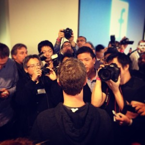 Mark Zuckerberg responds to press questions and photos after announcing the new Facebook News Feed redesign on March 7 in Menlo Park.