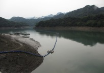 The low water level at the Shihmen Dam.