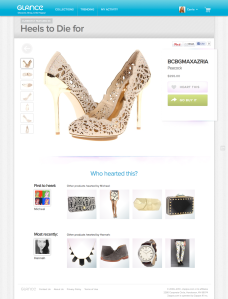 Zappos Glance social recommendation product page