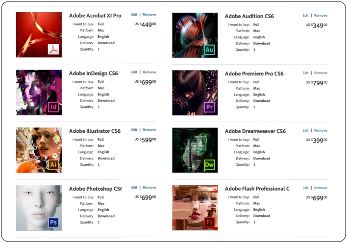 Adobe Creative Suite Priced Individually