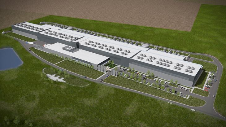 An artist rendering of Facebook's Altoona, Iowa data center.