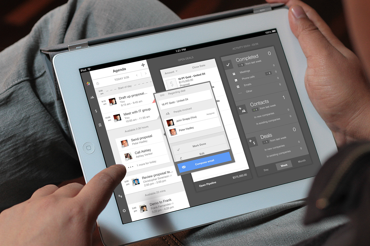 The AppMesh application for iPad lets salespeople track meetings, sales opportunities and emails.