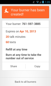 create burner phone screenshot