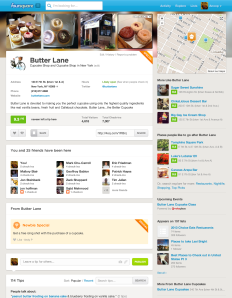 new Foursquare desktop design listings