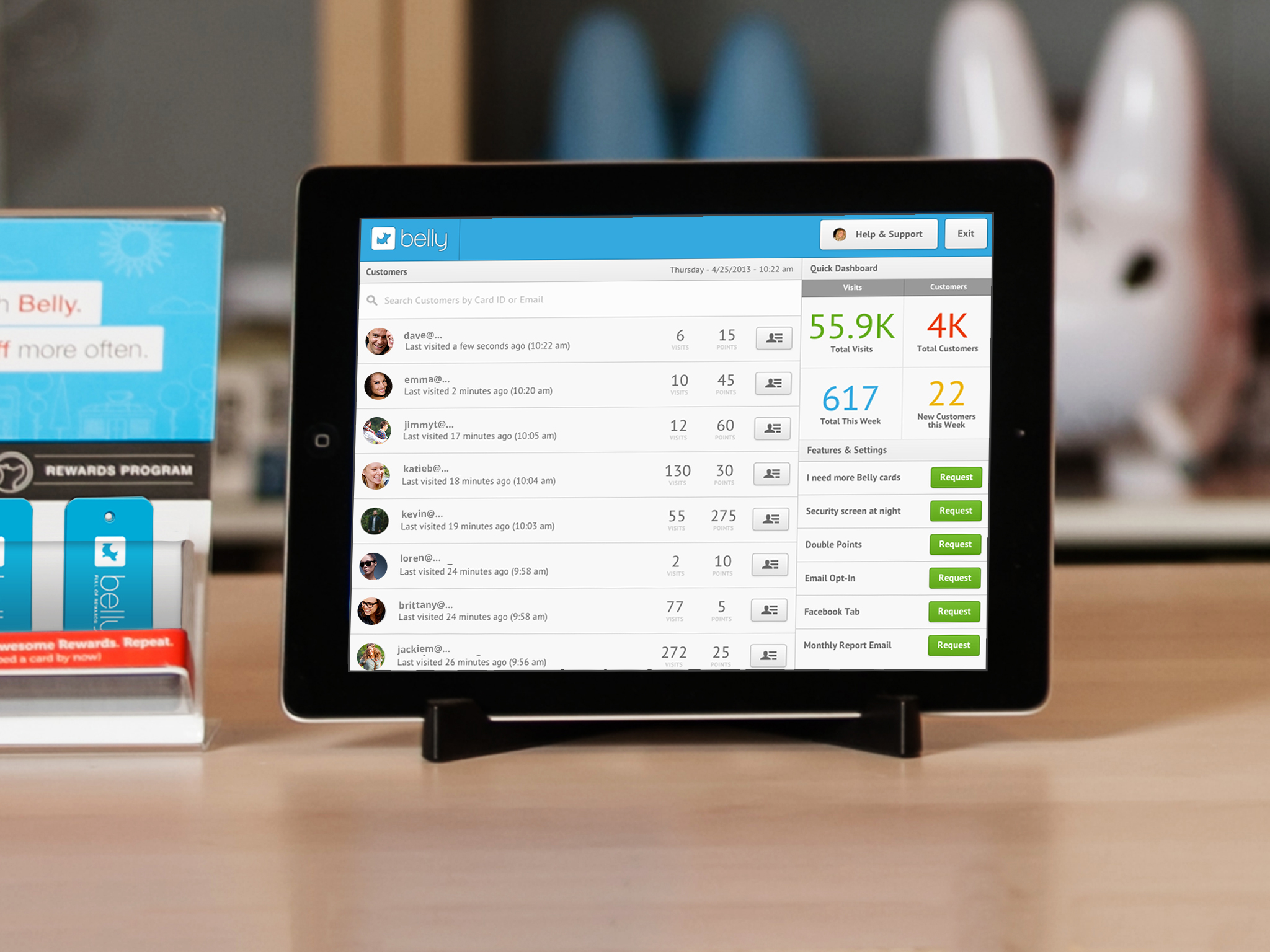 A Belly iPad terminal, which scans the barcode displayed on your Belly smartphone app (Source: Belly)