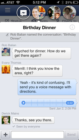 facebook messaging screenshot