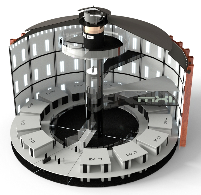 Gasometer data center proposal from industrial design firm Splitvision
