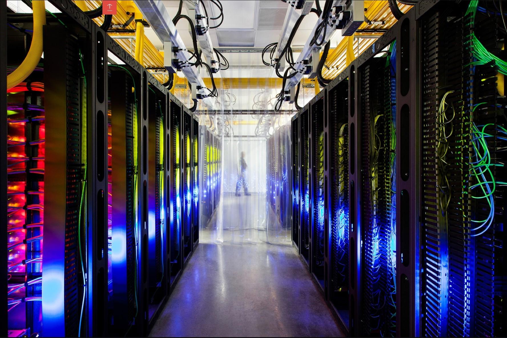 Inside a Google data center. Image courtesy of Google